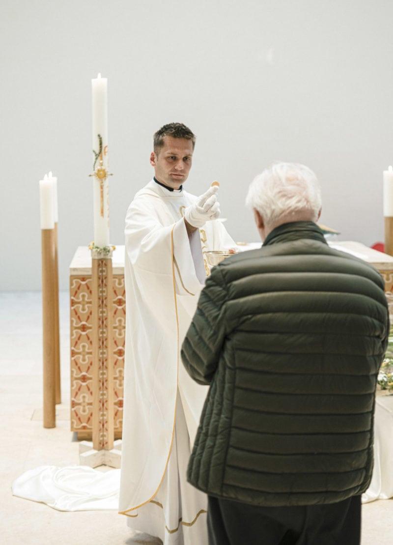 Catholic church service while Corona pandemic
